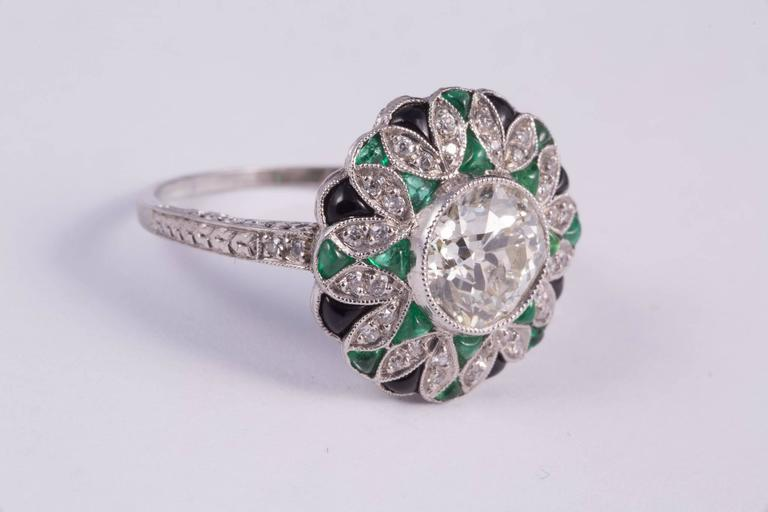 Fabulous Diamond Emerald Onyx Ring 4