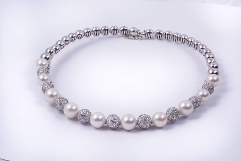 Contemporary Stefan Hafner Pearl Diamond White Gold Necklace For Sale