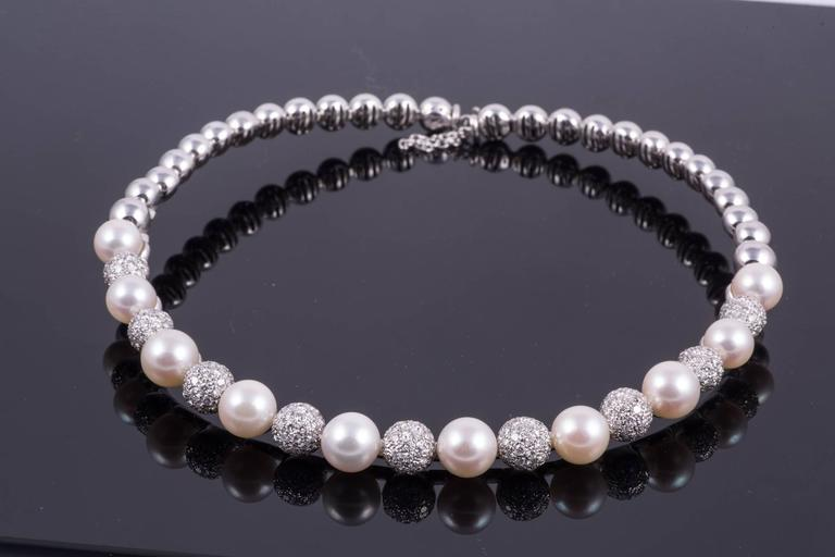 Stefan Hafner Pearl Diamond White Gold Necklace In Excellent Condition For Sale In New Orleans, LA