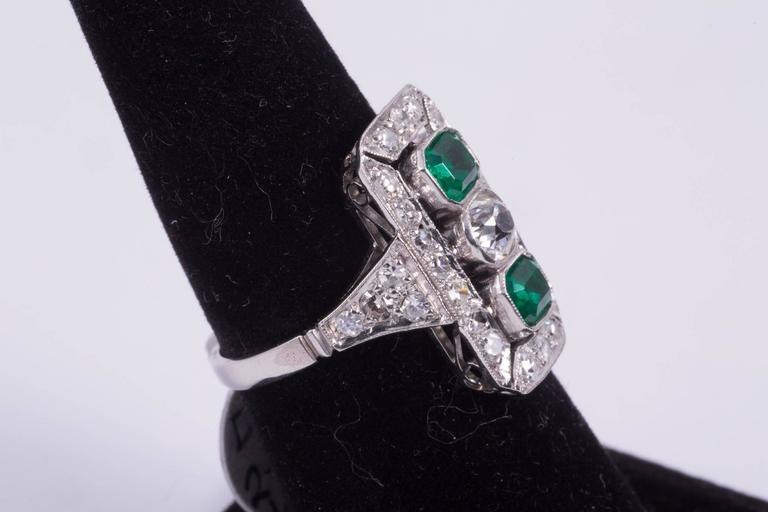 Art Deco Emerald and Diamond Cocktail Ring  In Excellent Condition For Sale In New Orleans, LA