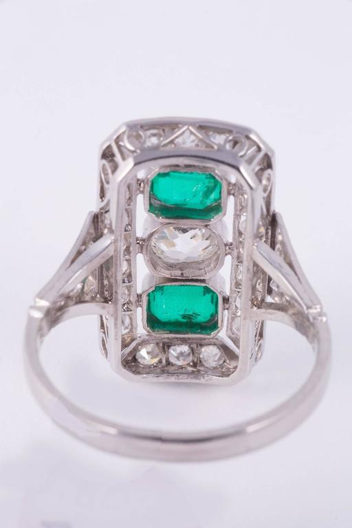 Women's or Men's  Art Deco Emerald and Diamond Cocktail Ring  For Sale