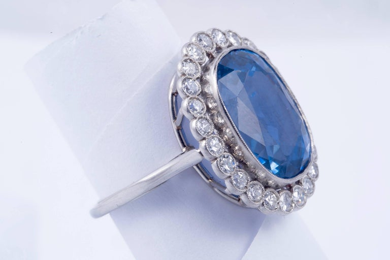 Magnificent Natural Blue Sapphire and Diamond Ring 2