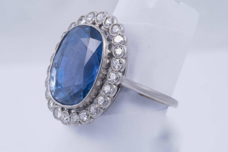 Magnificent Natural Blue Sapphire and Diamond Ring 3