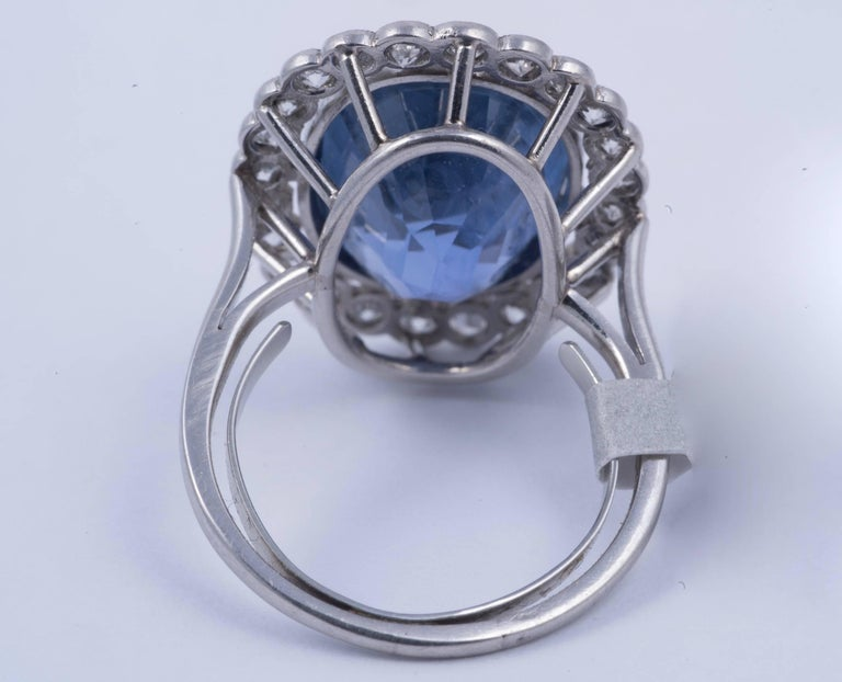 Magnificent Natural Blue Sapphire and Diamond Ring 4