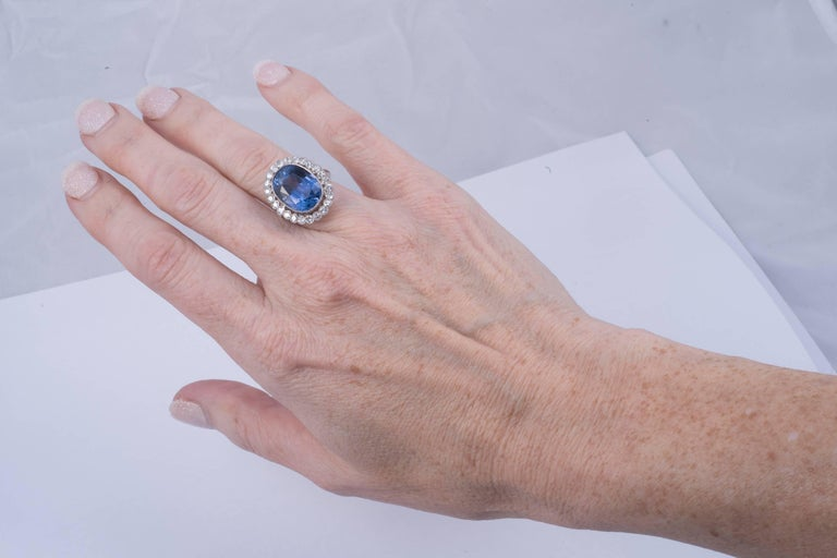 Magnificent Natural Blue Sapphire and Diamond Ring 5
