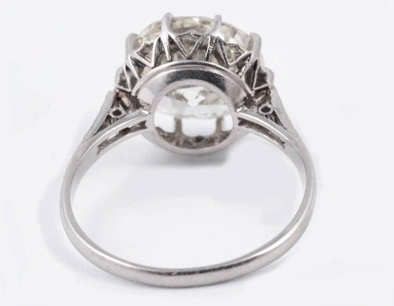Edwardian Magnificent 5.35 Carat European Cut Diamond Solitaire For Sale