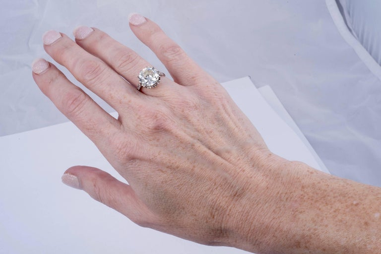 Old European Cut Magnificent 5.35 Carat European Cut Diamond Solitaire For Sale