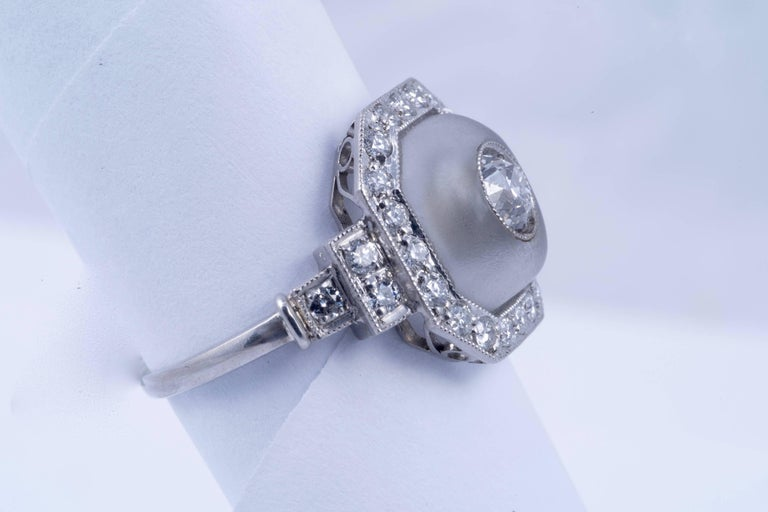 Beautiful Rock Crystal and Diamond Ring Size 7.5