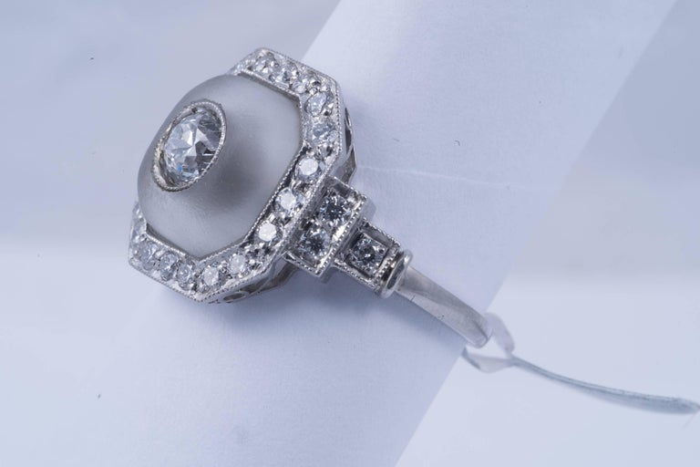 Rock Crystal and Art Deco Style Diamond Ring In Excellent Condition For Sale In New Orleans, LA