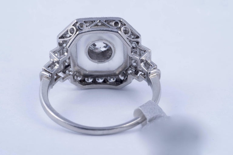 Women's or Men's Rock Crystal and Art Deco Style Diamond Ring For Sale