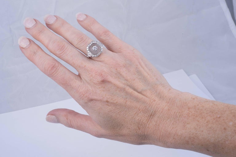 Rock Crystal and Art Deco Style Diamond Ring 5