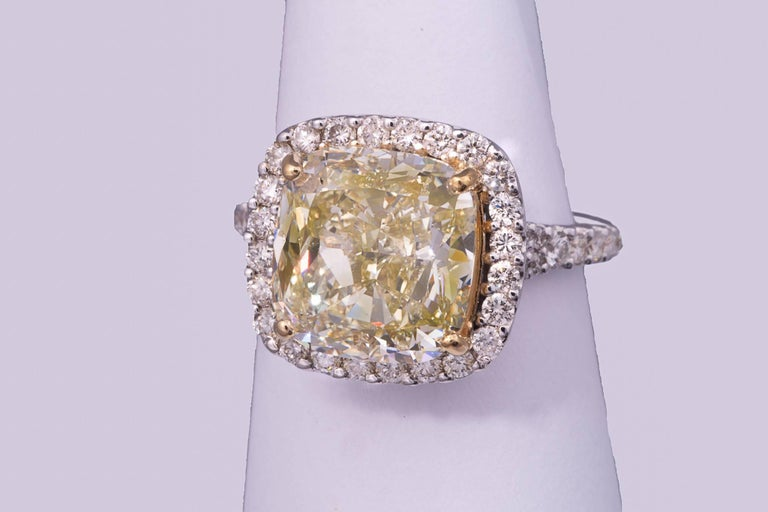 5.11 Carat Natural Fancy Yellow Cushion Cut Diamond Ring For Sale 1