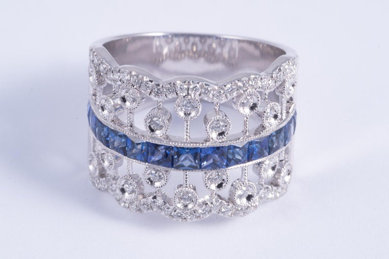 Contemporary French Cut Sapphire and Diamond Ring For Sale