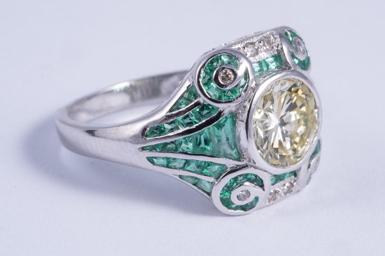 Art Deco Natural Yellow Diamond and Emerald Ring For Sale