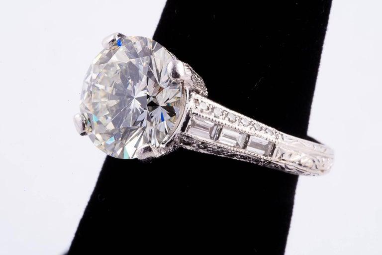 Art Deco 4.04 Carat Round Brilliant Cut Diamond Engagement Ring For Sale