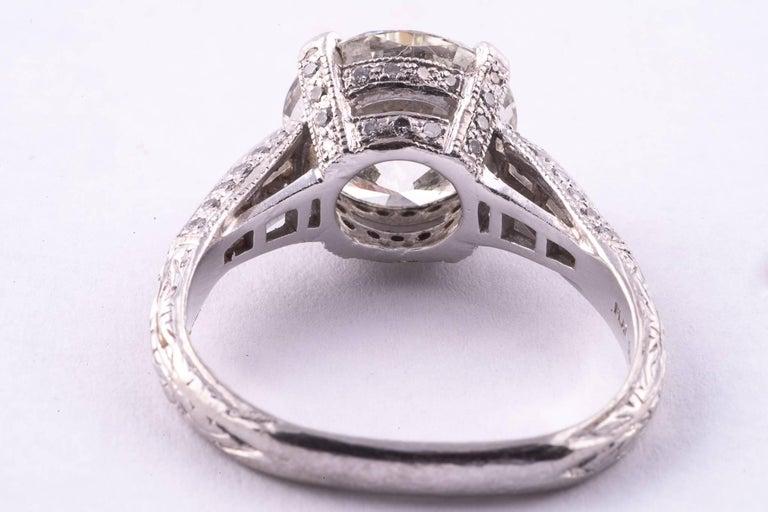 Round Cut 4.04 Carat Round Brilliant Cut Diamond Engagement Ring For Sale