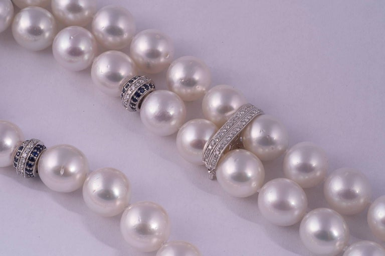 Contemporary Magnificent South Sea Pearl, Sapphire and Diamond Tassel Necklace For Sale