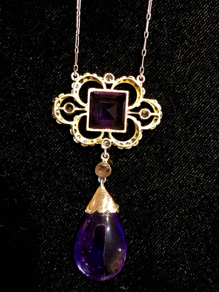Emerald Cut Edwardian Amethyst and Diamond Pendant For Sale