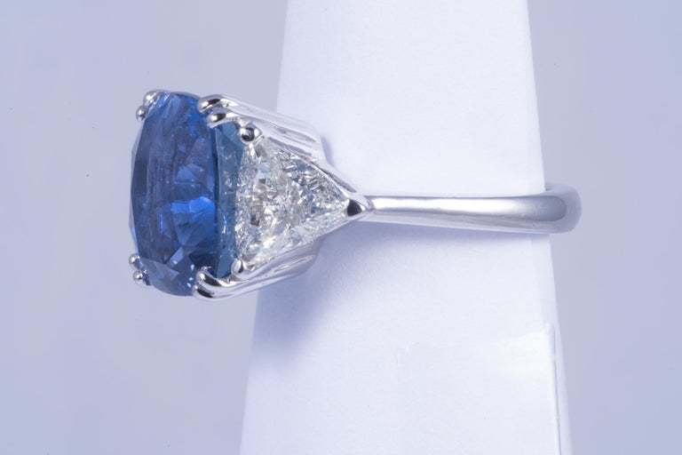 Cushion Cut Magnificent Blue Sapphire and Diamond Ring For Sale