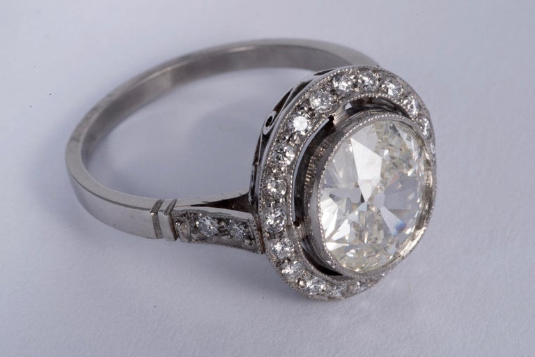 Art Deco Period European Cushion Cut Diamond Ring In Excellent Condition For Sale In New Orleans, LA