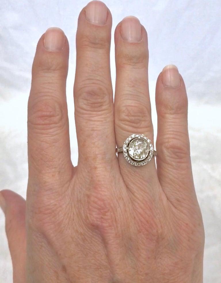 Art Deco Period European Cushion Cut Diamond Ring For Sale 1