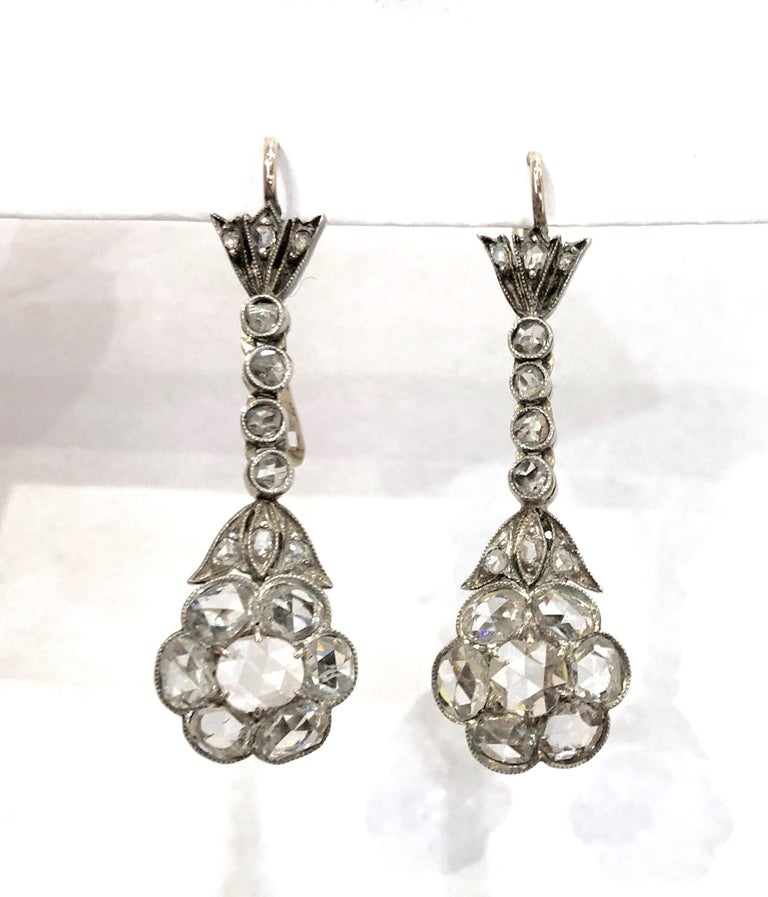 Women's or Men's Magnificent Antique Rose Cut Diamond Drop Earrings For Sale