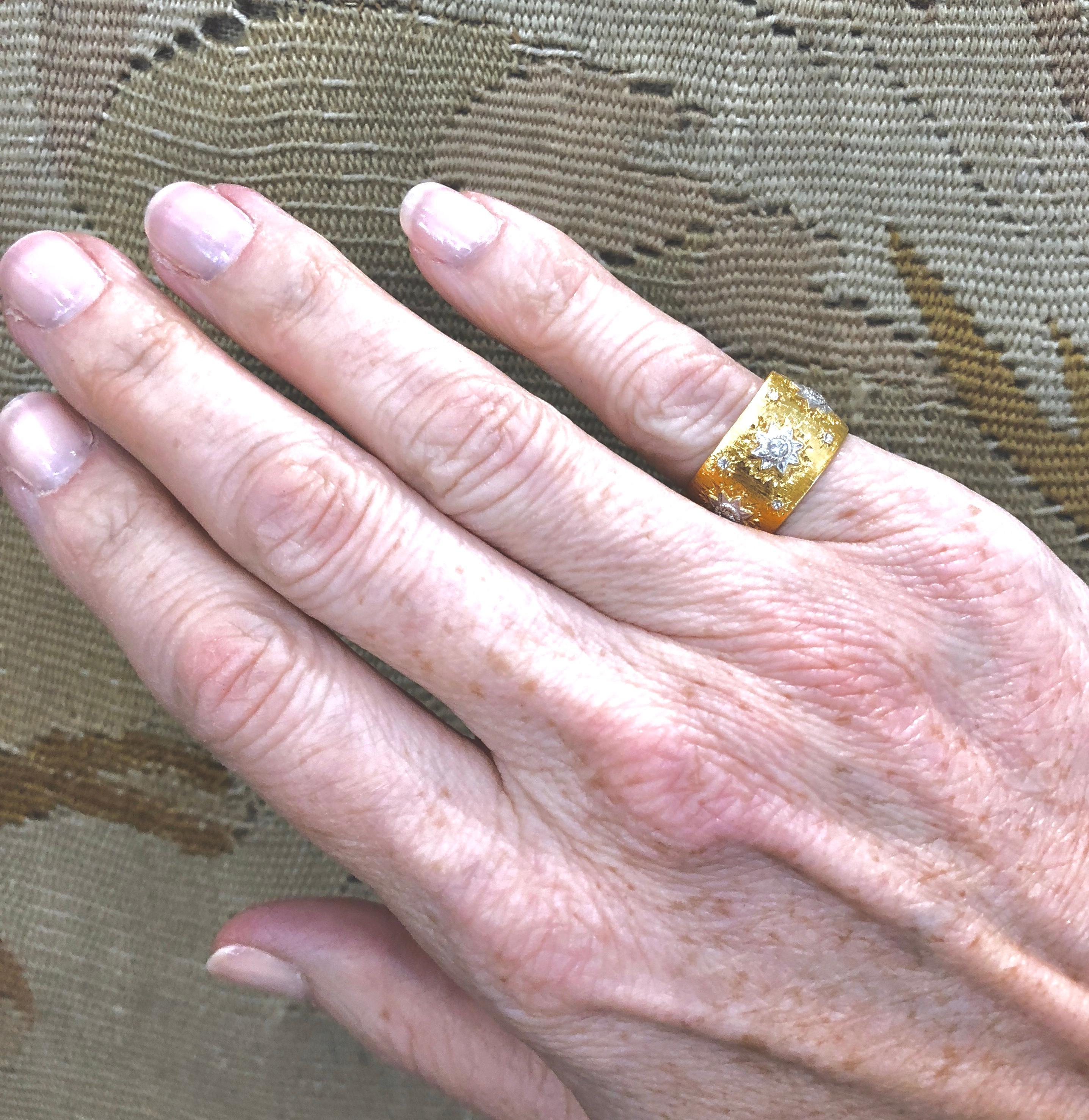 Mario Buccellati Diamond Gold Band For Sale at 1stdibs