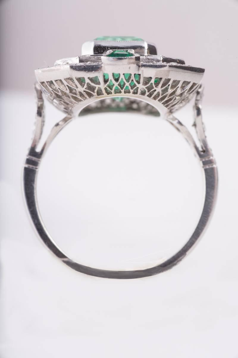 Emerald Diamond Black yx Platinum Ring at 1stdibs