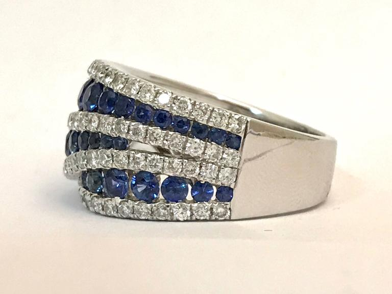 Modern Sapphires Diamonds White Gold Cocktail Ring For Sale