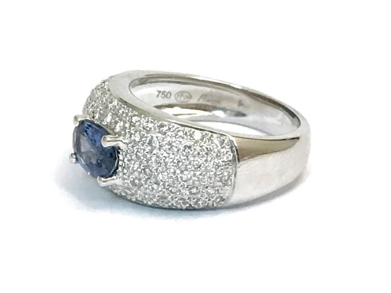 Sapphire Diamonds White Gold Cocktail Ring 3