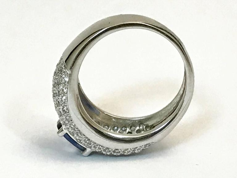 Sapphire Diamonds White Gold Cocktail Ring 4