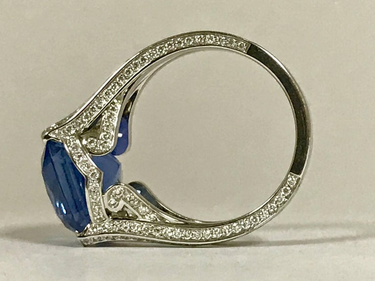 Natural Blue Sapphire GRS Certified 9.47 K and Diamonds Gold Palladium Ring 4