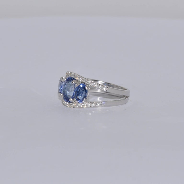 Blue Sapphires 3.0 Carat and White Diamonds White Gold Ring. Blue Sapphires 3.0 Carat White Diamonds 0.29 Carat White Gold 18 Carat French Size 53 US Size 6 1/2
