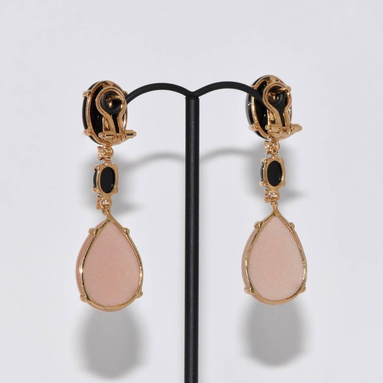 Peach Moonstone Black Agate And Diamond Yellow Gold Chandelier Earrings In As New Condition For
