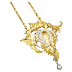 18K Yellow and White Gold and Diamond Brooch Pendant on Necklace or Chain