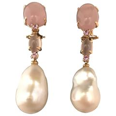 Pink Gold, Cultured Pearl, Quartz, Tourmaline Earrings