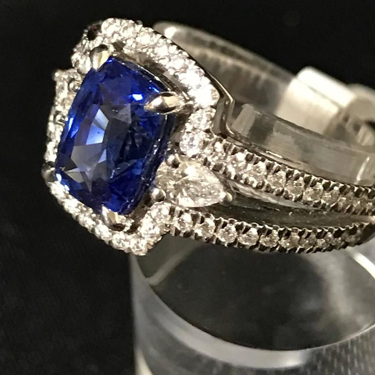 Cushion Ceylon Sapphire Pear Shaped Diamonds White Gold Ring For Sale at 1stdibs