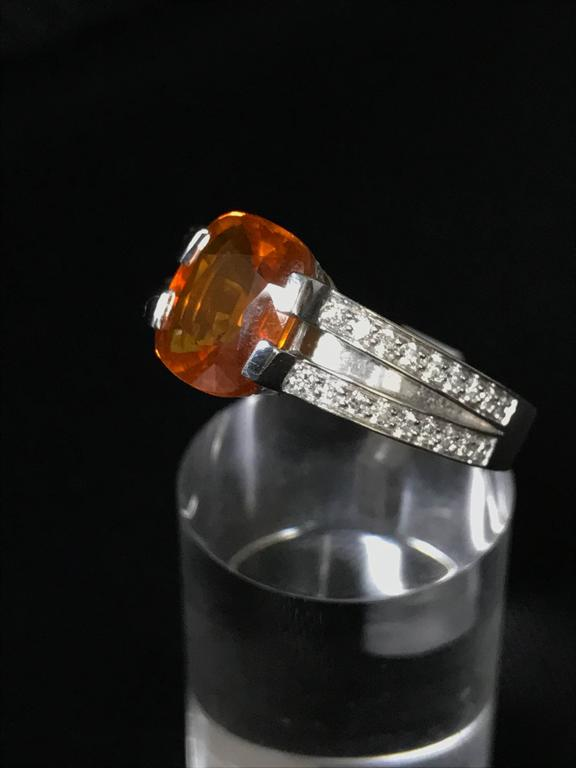 Women's Orange Sapphire Diamonds and White Gold Ring For Sale