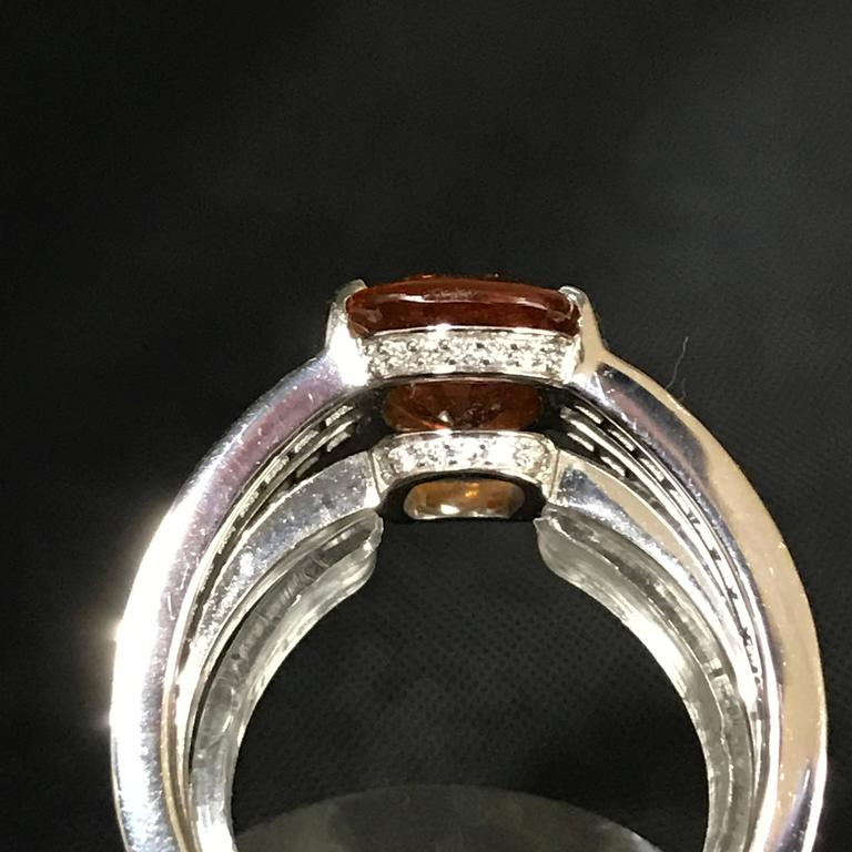Orange Sapphire Diamonds and White Gold Ring In As New Condition For Sale In Vannes, FR