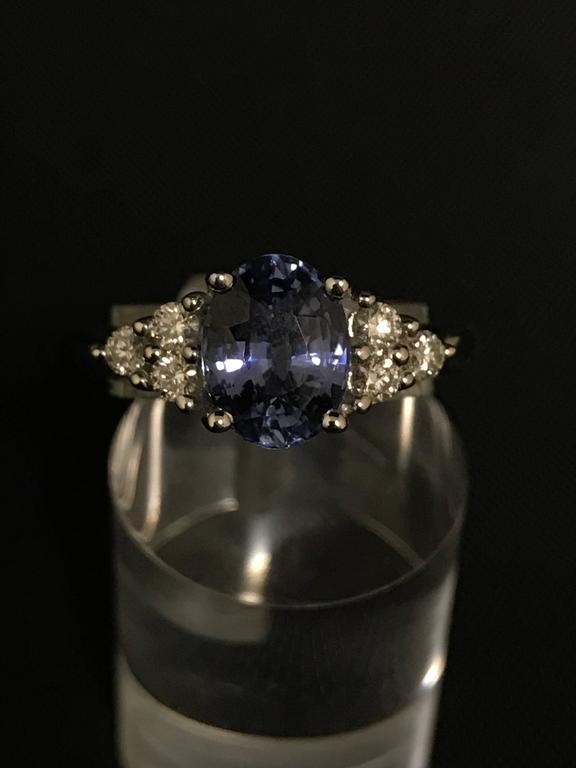 Discover this Ceylon Sapphire Diamonds White Gold Engagement Ring. White Gold 18 Carat  6 Diamonds 0.28   Ceylon Sapphire 2.3  Size : 53
