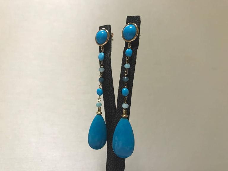 Turquoise and Amazonite Yellow Gold Earrings In New Condition For Sale In Vannes, FR