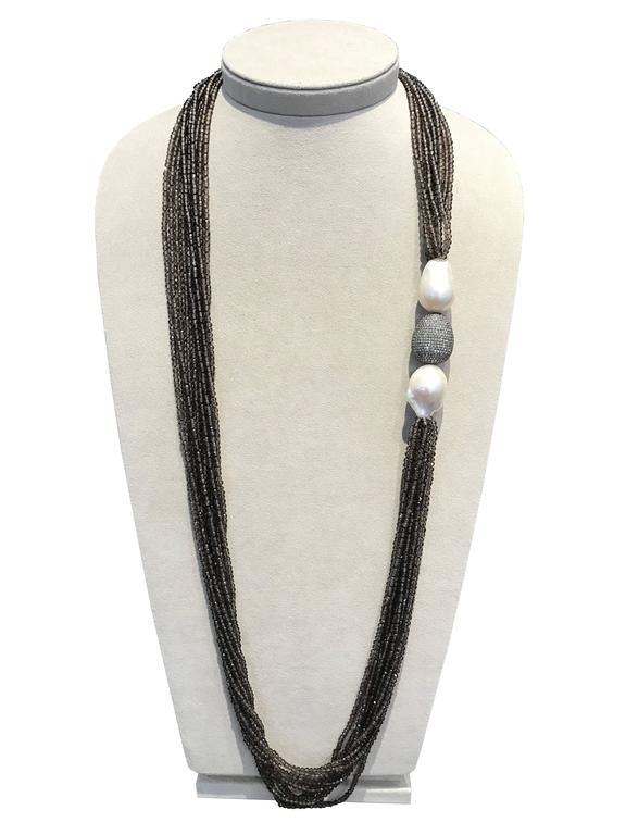 Sterling Silver Smoky Quartz Diamonds and Pearls Necklaces 2