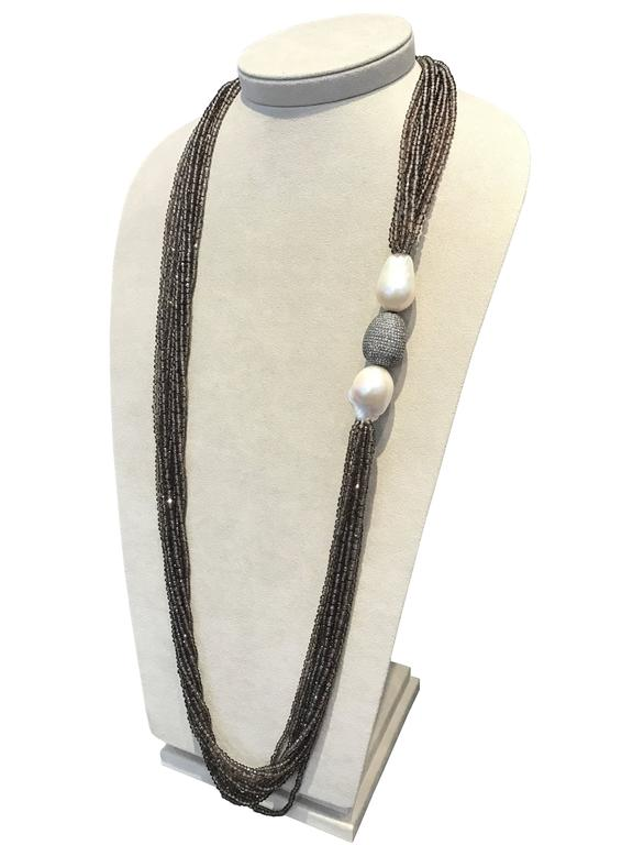 Sterling Silver Smoky Quartz Diamonds and Pearls Necklaces 3
