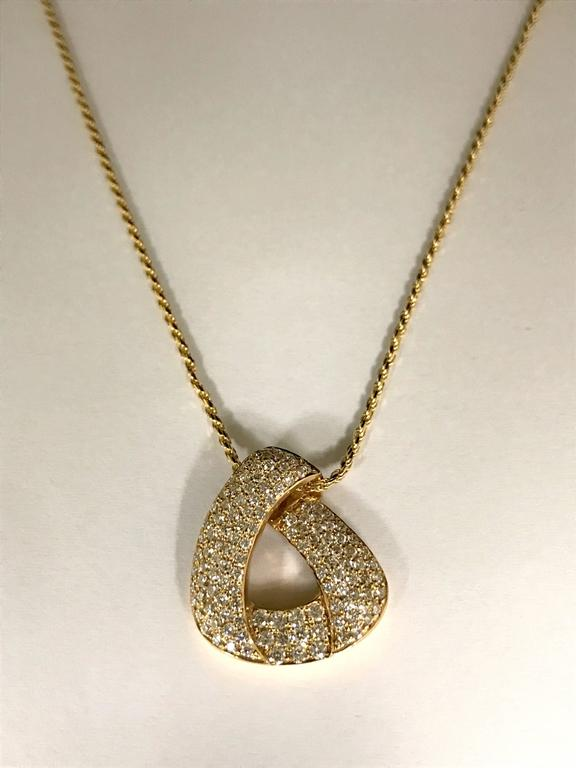 Diamonds and Yellow Gold Pendant Necklace Yellow Gold  127 Diamonds 0,960 Carat Form B Purity SI  Yellow Gold Sliding Rope Chain