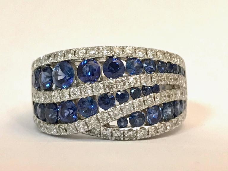 Beautiful White Gold 18 Carat Sapphires and Diamonds Cocktail Ring. Sapphires 1,850 Carat Diamonds 1,000 Carat Color G/H  French Size 54 US Size 63/4