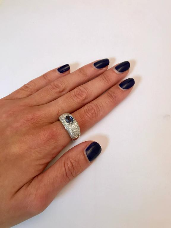 Sapphire Diamonds White Gold Cocktail Ring 5
