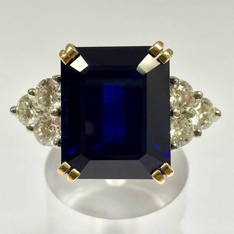 Ceylon Sapphire Diamonds White and Yellow Gold Ring. Ceylon Sapphire Form Emerald 14,35 Carat White Diamonds 1,62 Carat Color F/G White Gold 18 Carat Yellow Gold 18 Carat