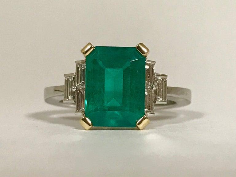 Discover This Certified Emerald 2.68 Karat White Diamonds on Palladium Gold Engagement Ring Emerald Shaped Emerald 2.68 Karat  White Baguette Diamonds 0.68 Karat Palladium Gold 18 Karat
