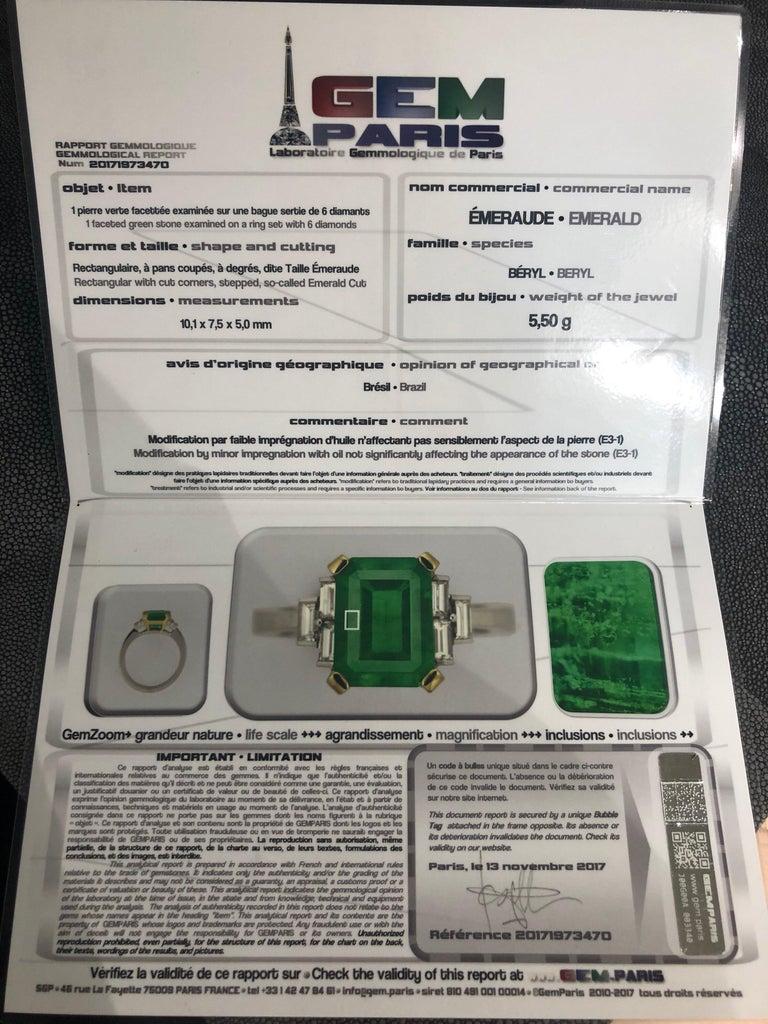 Certified Emerald 2.68 Karat White Diamonds on Palladium Gold Engagement Ring For Sale 1