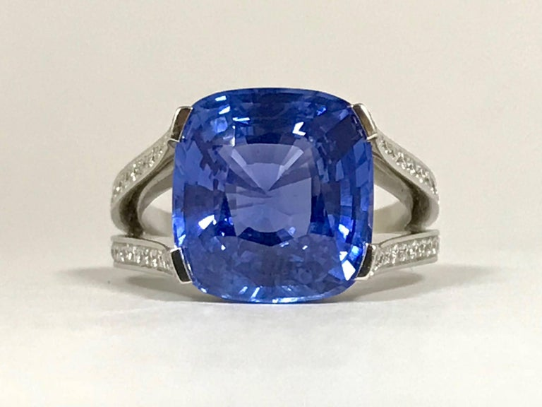 Natural Blue Sapphire GRS Certified 9.47 K and Diamonds Gold Palladium Ring 2